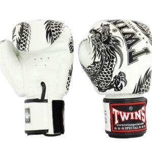 Twins Special Muay Thai Boxing Gloves FBGV-49 White Black Dragon Flying