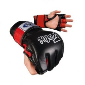Fairtex Black Red Ultimate Combat MMA Gloves with Open Thumb Loop - FGV12