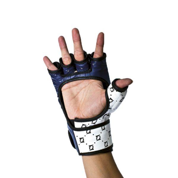 Fairtex Double Wrist Wrap Closure MMA Sparring Gloves - FGV17 White Blue Color