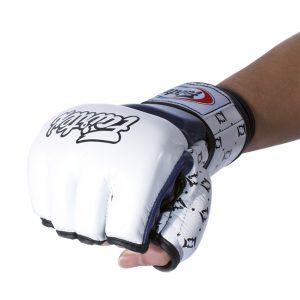 Fairtex FGV17 Double Wrist Wrap Closure MMA Sparring Gloves - White Blue Color