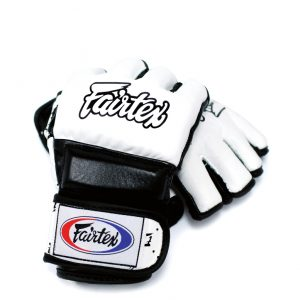 Fairtex FGV17 Double Wrist Wrap Closure MMA Sparring Gloves - White Black Color