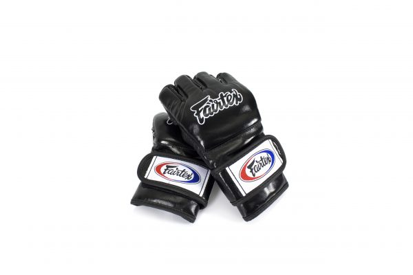 Fairtex Black Ultimate Combat MMA Gloves with Open Thumb Loop - FGV12