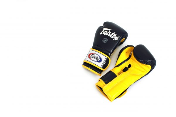 Fairtex Muay Thai Black Yellow Boxing Gloves BGV9