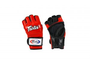 Fairtex Ultimate Combat MMA Gloves with Red Black Open Thumb Loop - FGV12