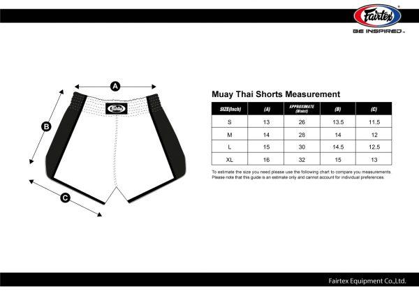 Mush Thai Shorts Chart Size