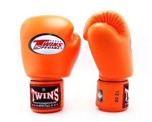 BGVL3 Twins Orange Velcro Boxing Gloves