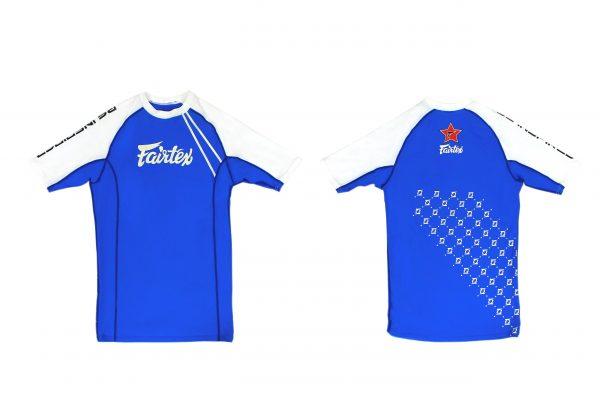 Fairtex Pro Short Sleeves Rashguard-Blue/ White