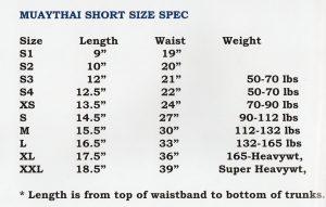 Fairtex Muay Thai Short Size SPEC