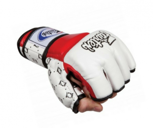 Fairtex FGV17 Double Wrist Wrap Closure MMA Sparring Gloves - White Red Color