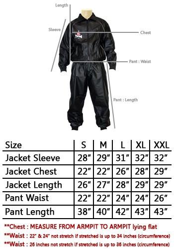 Twins Sauna Suit Chart Size