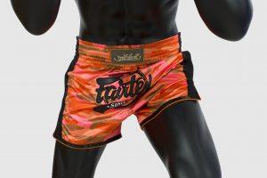 Fairtex Slim Cut Shorts - Orange Camo