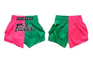 Fairtex Slim Cut Shorts-Pink/Green